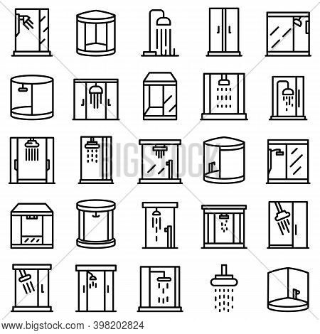 Shower Stall Icons Set. Outline Set Of Shower Stall Vector Icons For Web Design Isolated On White Ba
