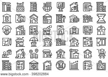 Property Investments Icons Set. Outline Set Of Property Investments Vector Icons For Web Design Isol