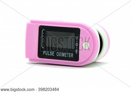 Portable Digital Fingertip Pulse Oximeter. Oximetry Blood Oxygen Saturation, Led Monitor With Pulse