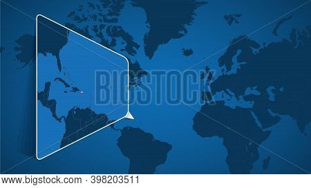 Location Of Puerto Rico On The World Map With Enlarged Map Of Puerto Rico With Flag. Geographical Ve