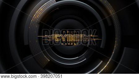 Cyber Monday. Promotional Online Sale Event. Vector Technology Illustration. Futuristic Design. Gold