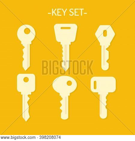 Collection Of Key Icons From The Door. A Set Of Various Metal Keys In The Shape Of A Silhouette. Vec