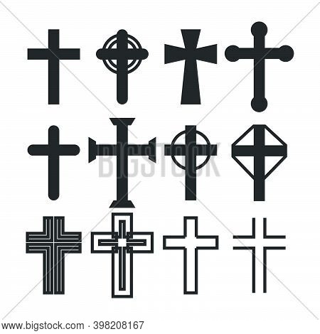 Christian Cross Silhouette Collection. Catholic Crucifix Icon Set. Vector Illustration Of A Sacred C
