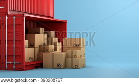 Stack Of Brown Box Packaging And Container, Import Export Shipping Business, 3d Rendering