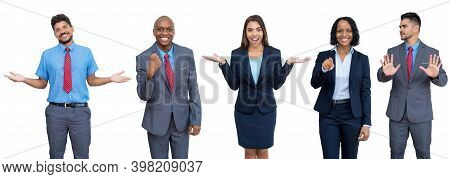 Group Of 5 Modern North American And South American Businessman And Businesswoman Isolated On White