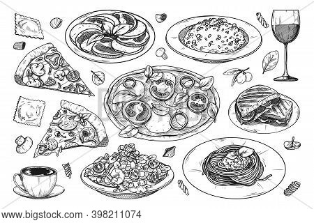 Set Of Different Italian Dishes. Pizza, Spaghetti, Risoto And Other Popular Italian Dishes. Vector I