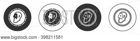 Black Ancient Coin Icon Isolated On White Background. Circle Button. Vector