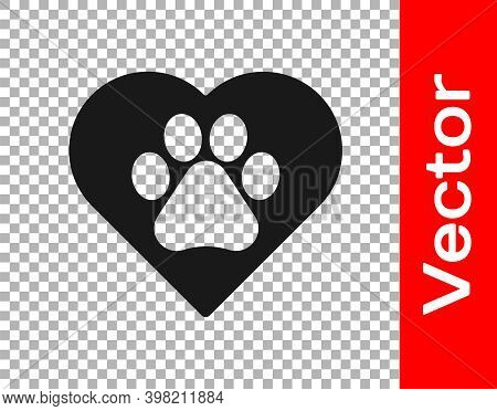 Black Heart With Animals Footprint Icon Isolated On Transparent Background. Pet Paw In Heart. Love T