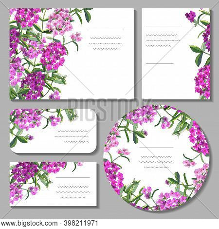 Set With Floral Templates On White Background