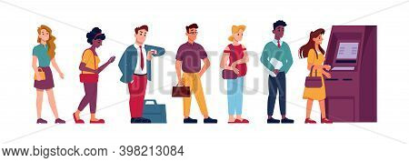 Atm Machine Line Queue, People Waiting To Withdraw Money, Flat Illustration. People Standing In Queu