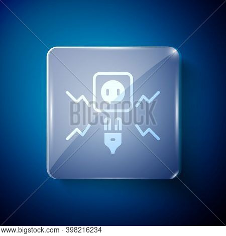 White Connecting Electric Plug With Electricity Spark Icon Isolated On Blue Background. Square Glass