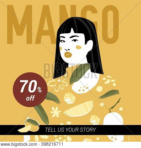 Mango Square Banner Template With Young Asian Girl In Mango Sweater. Trendy Fashion Design In Mustar