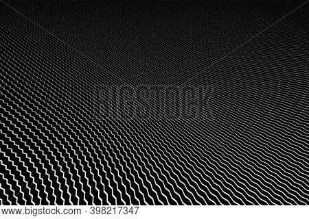 Abstract zig zag lines striped texture on black background. Diminishing perspective view.