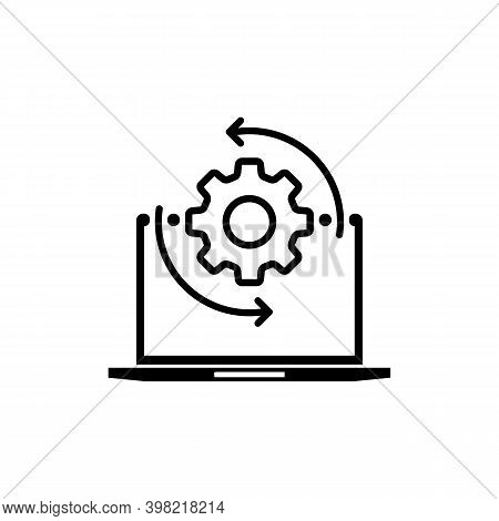 Monitor And Gears Icon. Adjusting App, Setting Options, Maintenance, Repair, Fixing Monitor Concepts