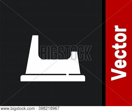 White Baby Potty Icon Isolated On Black Background. Chamber Pot. Vector