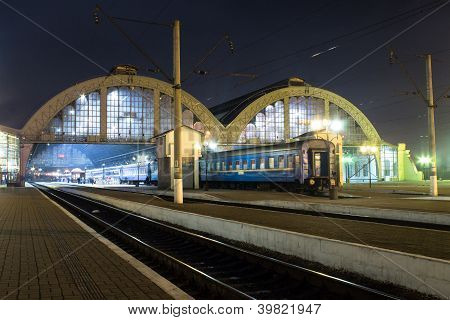 Railway Station In Night