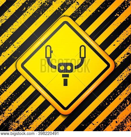 Black Aircraft Steering Helm Icon Isolated On Yellow Background. Aircraft Control Wheel. Warning Sig