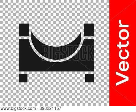 Black Skate Park Icon Isolated On Transparent Background. Set Of Ramp, Roller, Stairs For A Skatepar