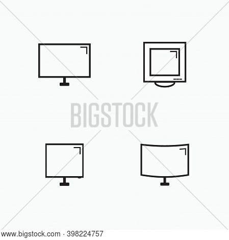 Monitor Computer Device Icon Set - Classic Monitor, Curve Monitor, Modern Monitor For Computer Devic