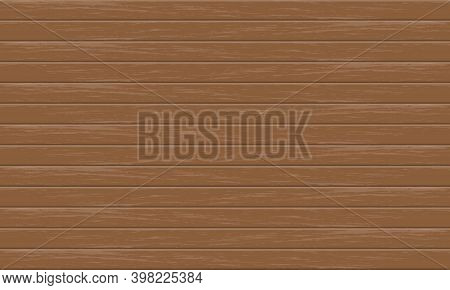 Realistic Brown Wood Plank Pattern Background Vector Illustration.
