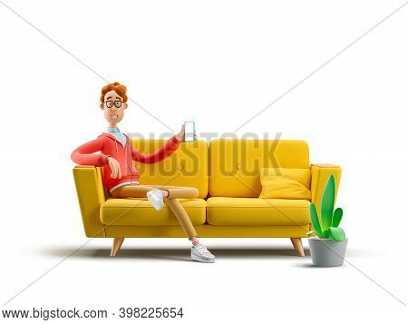 Nerd Larry Sitting On The Couch With The Phone. 3d Illustration.