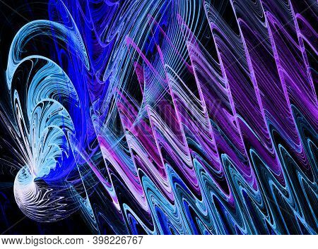 Blue, Magenta,  White Wavy Curved Lines Start From An Oblong Signal Source And Spread Diagonally Aga