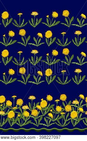 Seamless Pattern With Dandelion Isolated On Dark