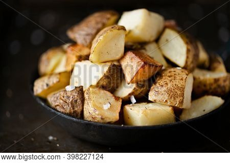 Close Up Of A Pan Of Spanish Fried Potatoes