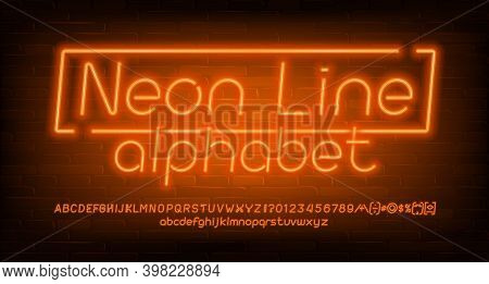 Neon Line Alphabet Font. Orange Neon Light Letters, Numbers And Symbols. Brick Wall Background. Stoc