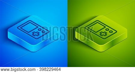 Isometric Line Portable Tetris Electronic Game Icon Isolated On Blue And Green Background. Vintage S