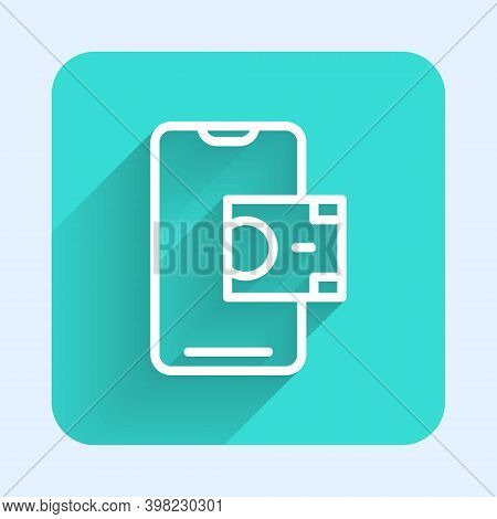 White Line Mobile Banking Icon Isolated With Long Shadow. Transfer Money Through Mobile Banking On T