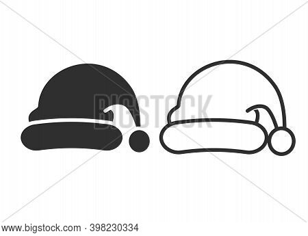 Santa Hat Line And Solid Icon, Christmas And New Year Concept, Costume Santa Claus Sign On White Bac
