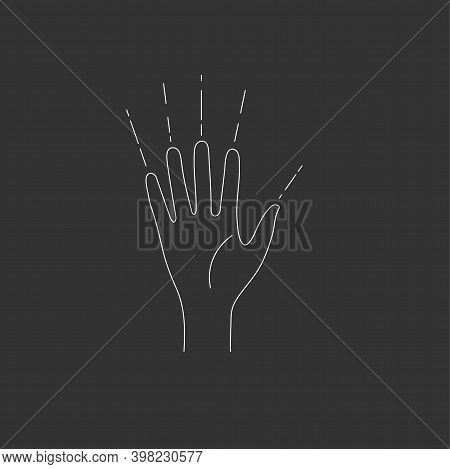 Healing With Hands. Psychic Icon. Rays Coming From Palm Of Hand