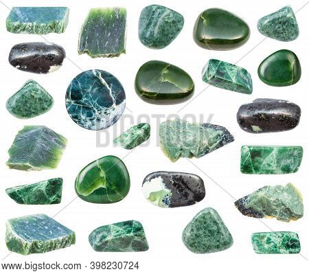 Collection Of Various Jade Natural Mineral Gem Stones And Samples Of Rock Isolated On White Backgrou