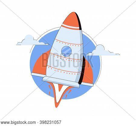 Space Shuttle Launching Adventure Galaxy Cartoon Vector Illustration. Spaceship Rocket, Startup Vect