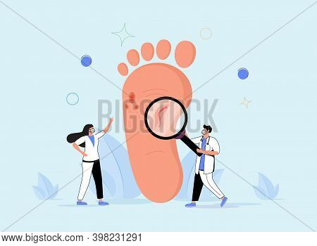 Podiatry As Medicine Brunch Devoted To Foot, Leg, Lower Extremity And Ankle Tiny Persons Concept. Do