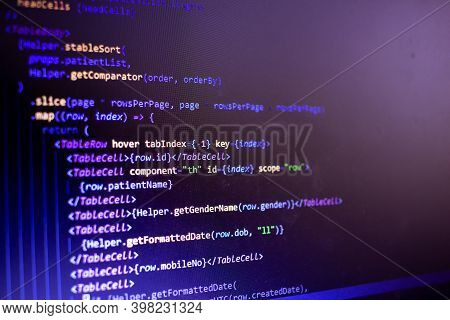 View Of The Coding Which Is Done For Application Development. Source Code By Software Engineer