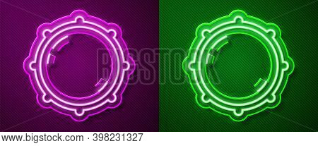 Glowing Neon Line Dial Knob Level Technology Settings Icon Isolated On Purple And Green Background.