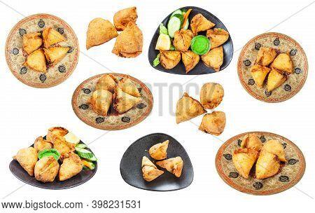 Set Of Various Samosas (fried Indian Savoury Pastry) Isolated On White Background