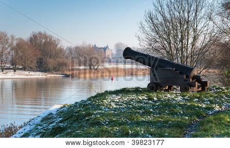 Old Cannon On An Historic Rampart In The Netherlands