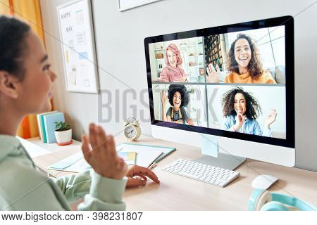 Mixed Race Teen Girl Waving Talking To Happy Diverse Teenage Friends During Online Virtual Chat Vide