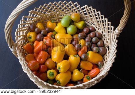 Basket With Colorful Vegetables. There Are Yellow And Orange Bell Peppers, Green And Red And Dark To