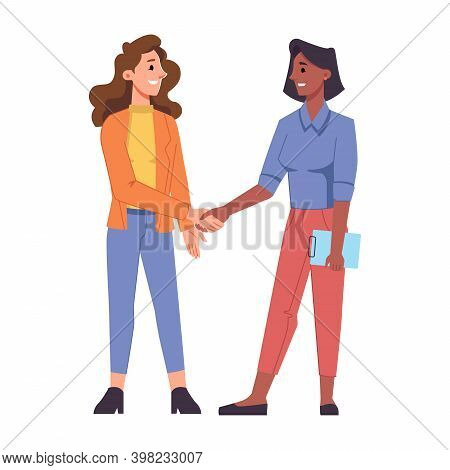 Female Characters Of Different Races Shaking Hands And Smiling. Isolated Business People, Colleagues