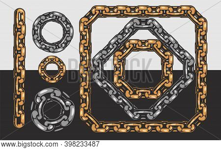 Chain Vintage Pattern Brush Template With Line Circle Square Diamond Shapes Isolated Vector Illustra