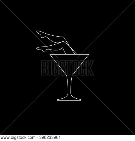 Martini Glass And Female Legs Icon For Bar Or Night Club
