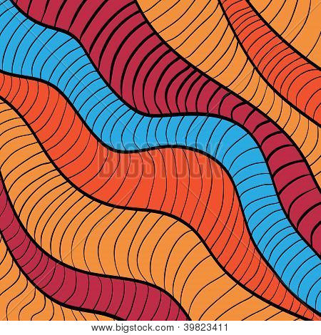 Colorful doodle waves background