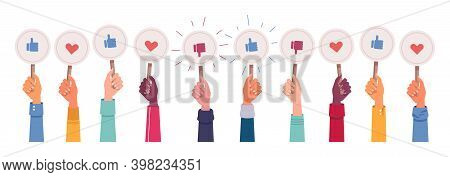 Hands Vote, Likes And Dislikes, Hearts And Feedback Isolated Icons Set. Vector Social Media Votes, P