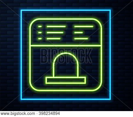 Glowing Neon Line Ticket Office To Buy Tickets For Train Or Plane Icon Isolated On Brick Wall Backgr