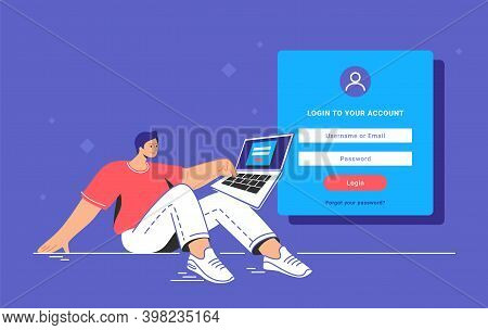 Log In And Account Authentication Blank Form. Flat Teenage Man Sitting With Laptop And Pushing Red B