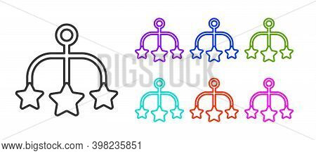 Black Line Baby Crib Hanging Toys Icon Isolated On White Background. Baby Bed Carousel. Set Icons Co